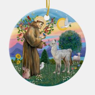 St Francis - Baby Llama Ceramic Ornament