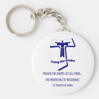 St Francis Basic Round Button Keychain