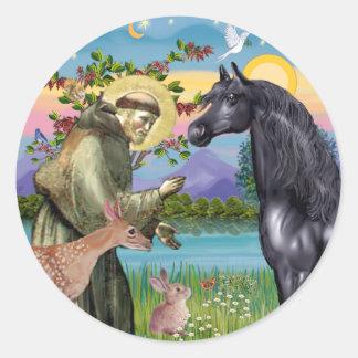 St Francis - Black Arabian Horse Round Sticker