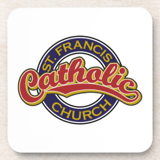 St. Francis Catholic Church Blue on Red Drink Coasters