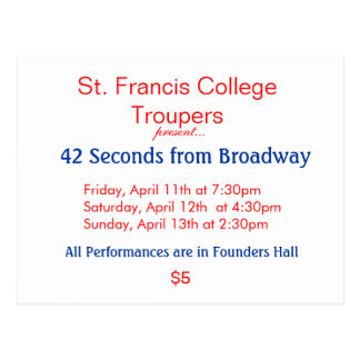 St. Francis College Troupers, Friday, April 11t... Postcard