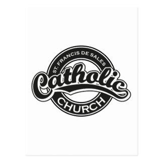 St. Francis De Sales Catholic Church Black White Postcard