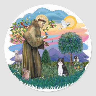 St Francis (ff) - Black and white cat Round Sticker