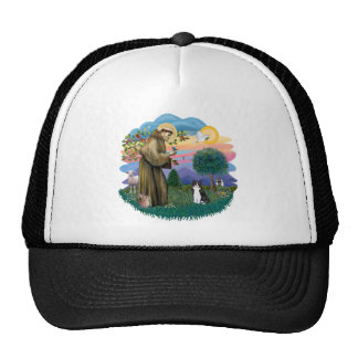 St Francis (ff) - Black and white cat Trucker Hat