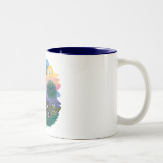 St Francis (ff) - Black and white cat Two-Tone Coffee Mug