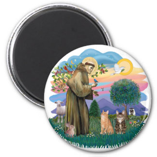St Francis (ff) - Two Tabby cats Magnet