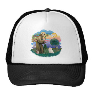 St Francis (ff) - White Persian cat Trucker Hat