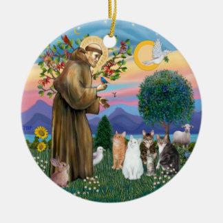 St Francis - Five Cats (AmSH) Ceramic Ornament