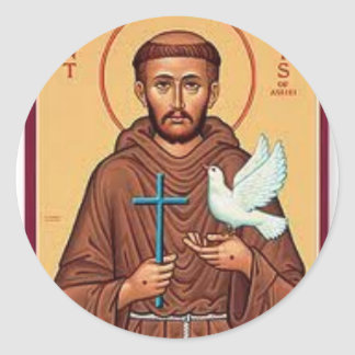 St. Francis Holding Cross and Dove Gift Classic Round Sticker
