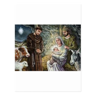 St Francis Nativity Scene, Christmas, Faith, Gift Postcard