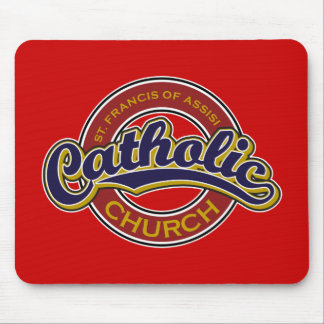 St. Francis of Assisi Catholic Church Blue on Red Mouse Pad
