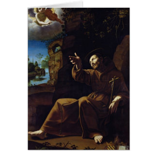 St. Francis of Assisi Consoled by an Angel Greeting Card