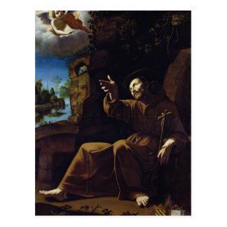 St. Francis of Assisi Consoled by an Angel Postcard