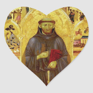 St. Francis of Assisi Medieval Icon Religious Heart Sticker
