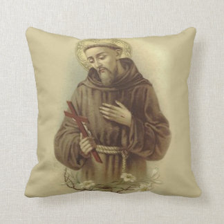 St. Francis of Assisi Patron Saint of Animals Throw Pillow