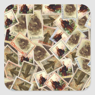 St. Francis of Assisi Postage Stamps Square Sticker
