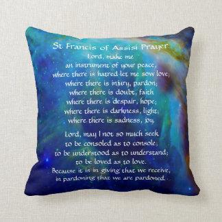 St Francis of Assisi Prayer Throw Pillow