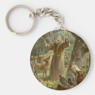 St. Francis of Assisi Preaching to the Animals Basic Round Button Keychain