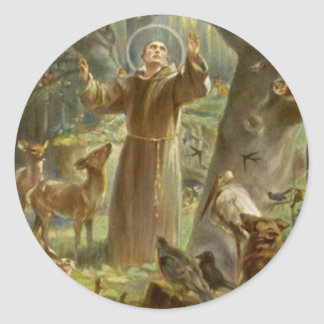 St. Francis of Assisi Preaching to the Animals Round Sticker