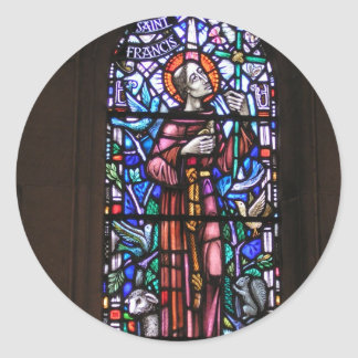St Francis of Assisi stained glass Round Sticker