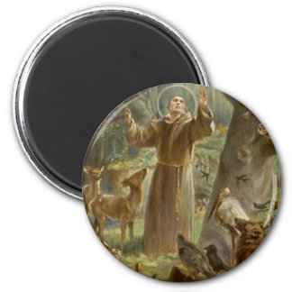 St. Francis of Assisi Surrounded by Animals 2 Inch Round Magnet
