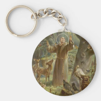 St. Francis of Assisi Surrounded by Animals Basic Round Button Keychain