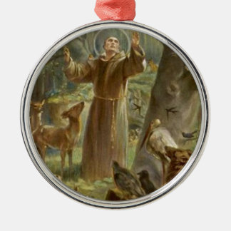 St. Francis of Assisi Surrounded by Animals Metal Ornament