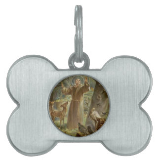 St. Francis of Assisi Surrounded by Animals Pet Name Tag
