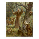 St. Francis of Assisi Surrounded by Animals Postcard
