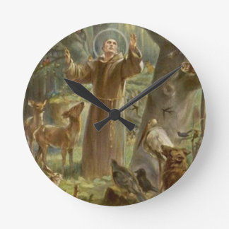 St. Francis of Assisi Surrounded by Animals Round Clock