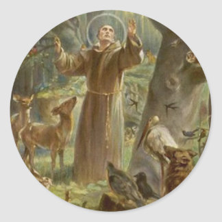 St. Francis of Assisi Surrounded by Animals Round Sticker