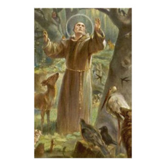 St. Francis of Assisi Surrounded by Animals Stationery