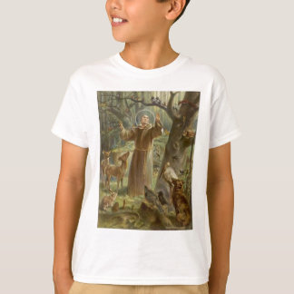 St. Francis of Assisi Surrounded by Animals T-Shirt
