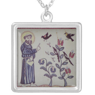 St Francis of Assisi with bird Silver Plated Necklace