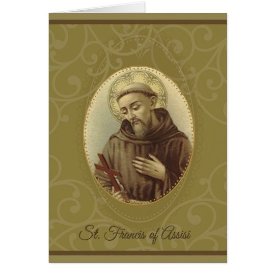 St. Francis of Assisi with Crucifix Card