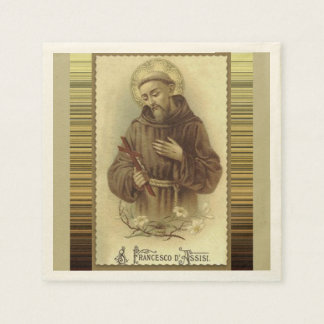 St. Francis of Assisi with Crucifix Lilies Disposable Napkins