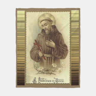 St. Francis of Assisi with Crucifix Lilies Fleece Blanket