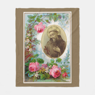 St. Francis of Assisi with Crucifix Roses Fleece Blanket