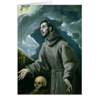 St. Francis Receiving the Stigmata (oil on canvas) Greeting Card