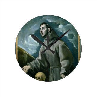 St. Francis Receiving the Stigmata (oil on canvas) Wall Clock