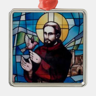 St Francis Stained Glass Image with Dove Silver-Colored Square Ornament