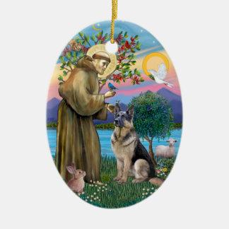 St Francis (W) - German Shepherd (C) Ceramic Ornament