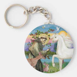 St Francis - White Arabian Horse Basic Round Button Keychain