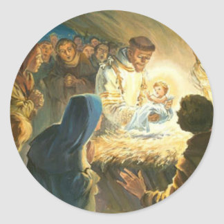 St Francis with Baby Jesus Christmas Gift Nativity Round Sticker