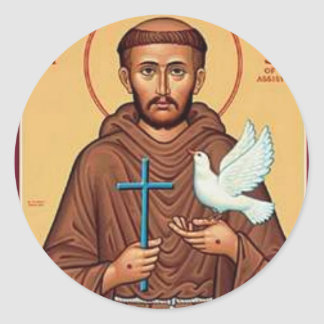 St. Francis with Dove Classic Round Sticker