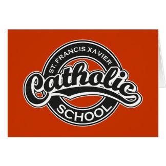 St. Francis Xavier Catholic School Black and White Greeting Card
