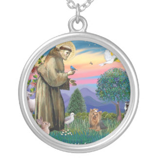 St Francis - Yorkshire Terrier #7 Silver Plated Necklace