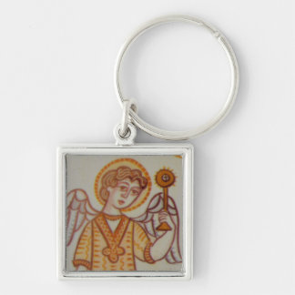 St Gabriel Silver-Colored Square Keychain