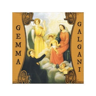 St. Gemma Galgani w/ Mary, Jesus, & Angels Canvas Print