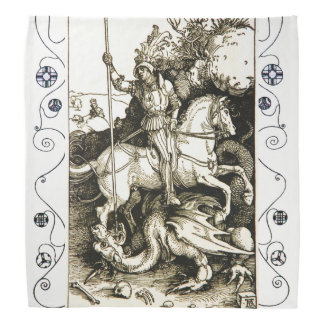 ST. GEORGE AND DRAGON , Black White Bandana